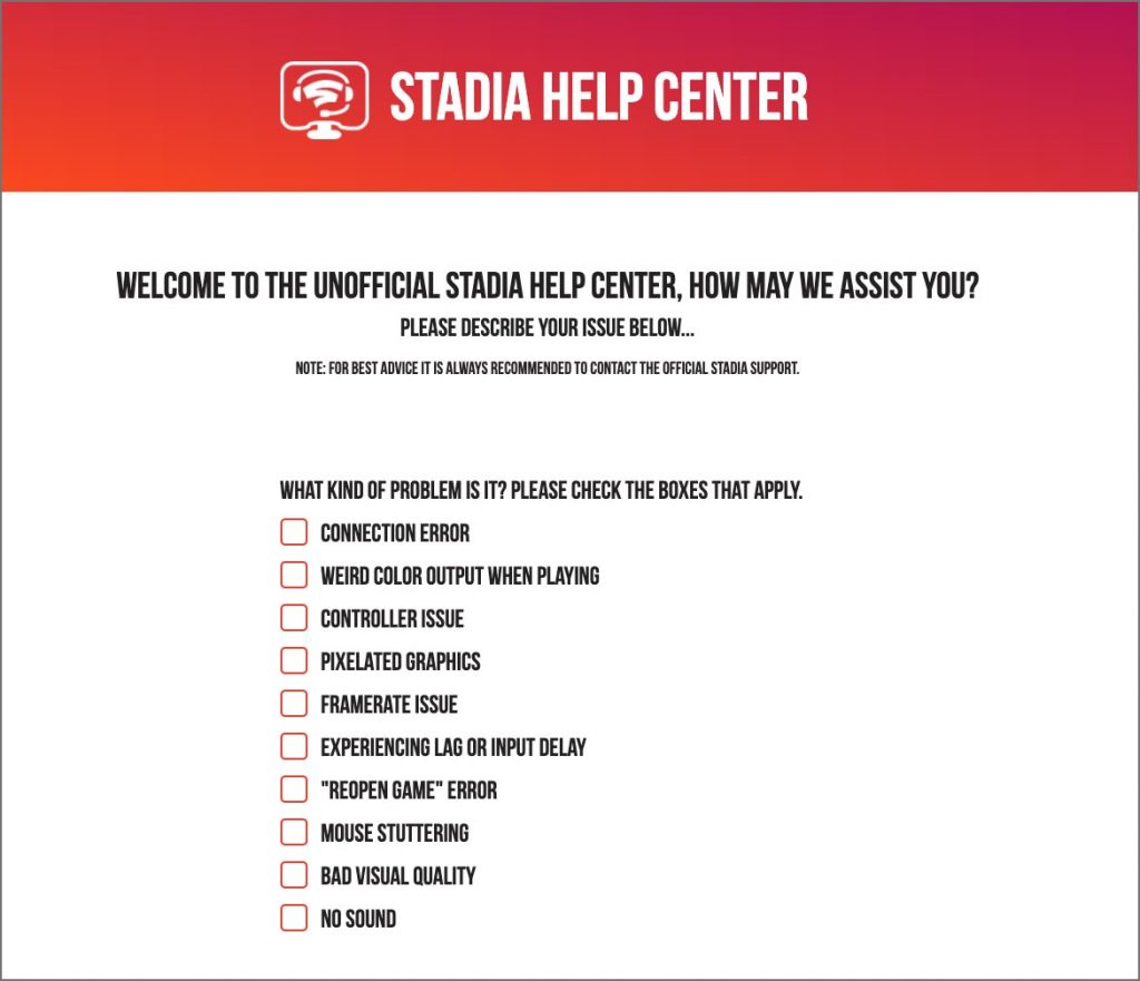 Google Stadia problems unofficial troubleshooting tool